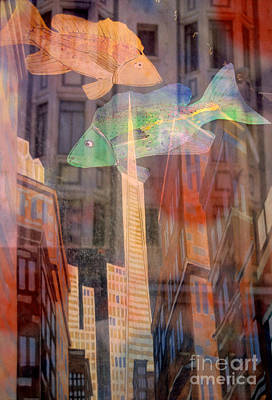Photograph - surreal urban cityscape - Fish City by Sharon Hudson