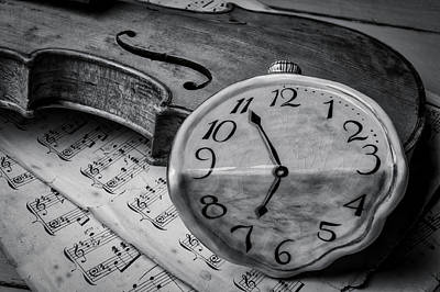 Photograph - Surreal Watch On Old Violin by Garry Gay
