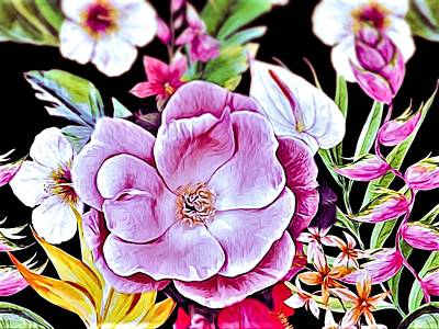 Surrealism Royalty Free Images - Surrealism Floral Portrait Royalty-Free Image by Debra Lynch