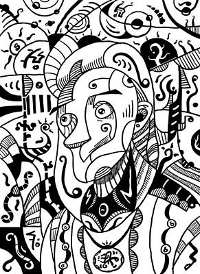 Drawing - Surrealism Philosopher Black And White by Sotuland Art