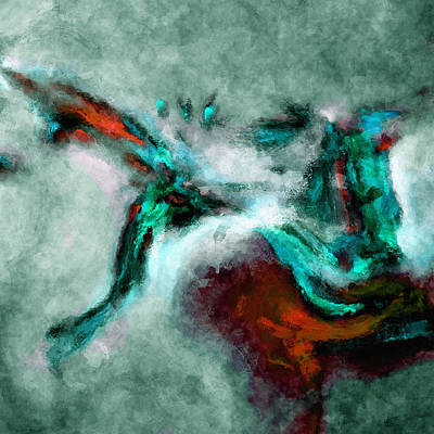 Surrealist And Abstract Painting In Orange And Turquoise Color Original
