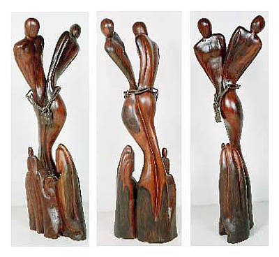 Dadaism Preceded Surrealism Sculpture - Surrealist Wooden Sculpture by Wasan Khattak