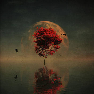 Surrealistic Landscape With Red Mapple And Full Moon Art Print