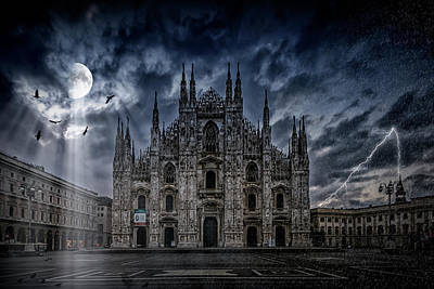 Mysterious Digital Art - Surreality Art Milan Cathedral No 2 by Melanie Viola