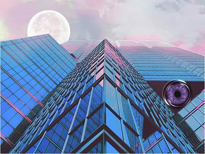 Surreality Of Blue Peaks Moon And Eye In Pink Lavender Cloud Mist Art Print