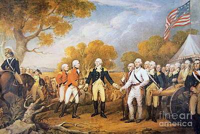 Saratoga Battlefield Painting - Surrender Of General Burgoyne At Saratoga, New York, 17 October 1777 by John Trumbull