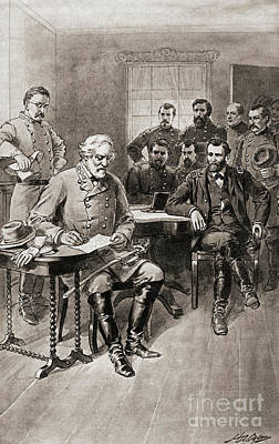 The General Lee Drawing - Surrender Of Robert E Lee To General Ulysses S Grant, Appomattox Court House,virginia by American School