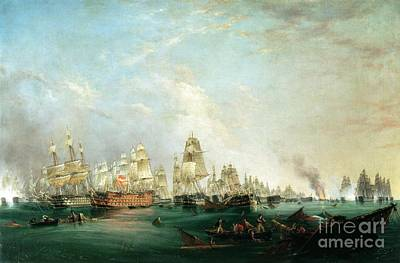 Frigates Painting - Surrender Of The Santissima Trinidad To Neptune The Battle Of Trafalgar by Lieutenant Robert Strickland Thomas