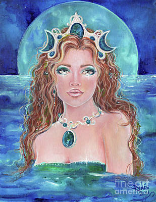 Sea Moon Full Moon Painting - Surrender To The Sea Mermaid by Renee Lavoie