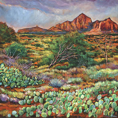 Prickly Pear Painting - Surrounded By Sedona by Johnathan Harris