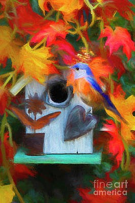 Bluebird Digital Art - Surrounded In Fall Color by Darren Fisher