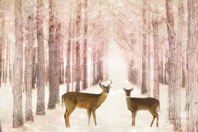Surreal Nature Photograph - Deer Woodlands Nature Print - Dreamy Surreal Deer Woodlands Nature Pink Forest Landscape by Kathy Fornal