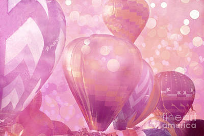 Surureal Hot Air Balloons Lavender Pink White Decor - Carnival Hot Air Balloons Nursery Room Decor Art Print by Kathy Fornal