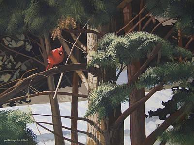 Peter Muzyka Wall Art - Painting - Surveying The Snow by Peter Muzyka