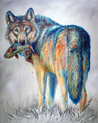 Wolf Painting - Survivor by Teshia Art
