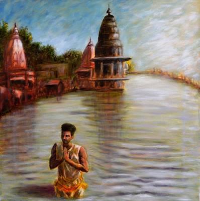 Suryanamaskar At Haridwar Original by Uma Krishnamoorthy