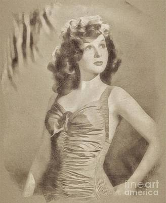 Musicians Drawings - Susan Hayward, Vintage Actress by John Springfield by John Springfield