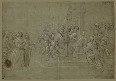 Drawing - Susanna And The Elders Before Daniel by Attributed to Pomponio Amalteo