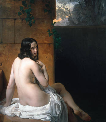 Nudist Painting - Susanna At Her Bath by Francesco Hayez