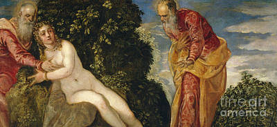 Mannerism Painting - Susannah And The Elders by Jacopo Robusti Tintoretto