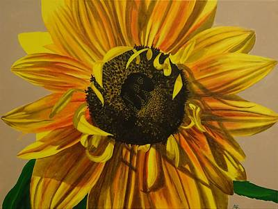 Shading On Flowers Painting - Susanna's Sunflower by Amelia Emery