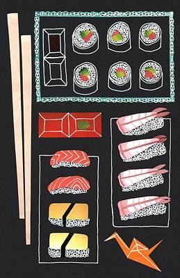 Fish Food Drawing - Sushi by Isobel Barber