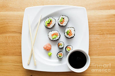 Tasty Photograph - Sushi With Salmon, Avocado, Rice In Seaweed Served With Wasabi And Ginger by Michal Bednarek