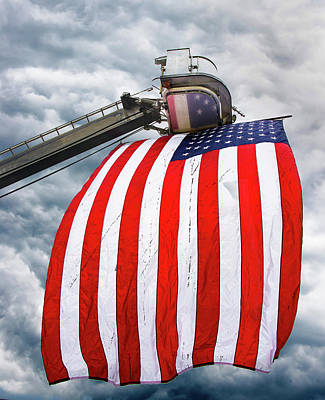 Photograph - Suspended American Flag And Reflection by Gary Slawsky