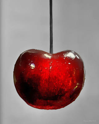 Art Print featuring the photograph Suspended Cherry by Suzanne Stout