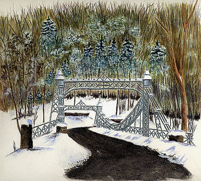 Suspension Bridge Painting - Suspension Bridge - Mill Creek Park by Michael Vigliotti