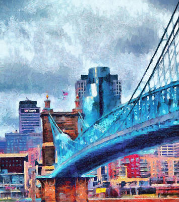 Roebling Bridge Painting - Suspension Bridge And Cincinnati by Dan Sproul