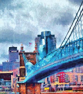 Ohio River Painting - Suspension Bridge And Cincinnati by Dan Sproul