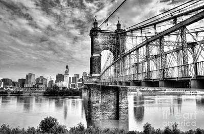White River Scene Photograph - Suspension Bridge At Cincinnati Bw by Mel Steinhauer