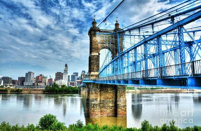 Suspension Bridge At Cincinnati Art Print by Mel Steinhauer