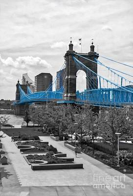 Photograph - Suspension Bridge At Cincinnati Selective Color by Mel Steinhauer