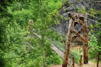 Photograph - Suspension Bridge At Lava Canyon by Marie Leslie
