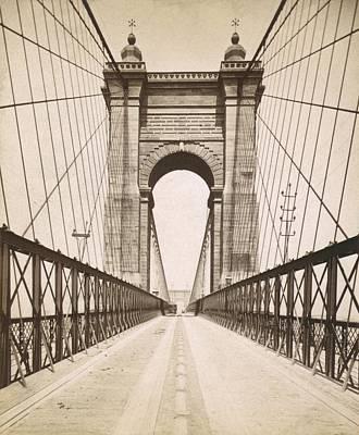Suspension Bridge Spanning The Ohio Art Print