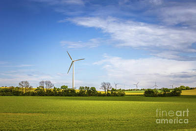 Crop Rotation Wall Art - Photograph - Sustainable Energy. Danish Landscape With Windmills And Green Fi by Anna Soelberg