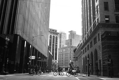 Photograph - Sutter Street Cyclists - San Francisco Street View Black And White  by Matt Harang