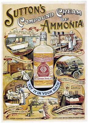 Ammonia Mixed Media - Sutton's Compound Cream Of Ammonia - Vintage Advertising Poster by Studio Grafiikka