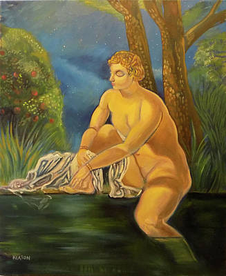 Art Print featuring the painting Suzanna Bathing In The Moonlight. by John Keaton