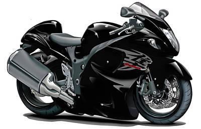 Bike Race Digital Art - Suzuki Hayabusa Black Bike by Maddmax