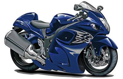 Bike Race Digital Art - Suzuki Hayabusa Dark Blue Bike by Maddmax