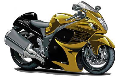 Bike Race Digital Art - Suzuki Hayabusa Gold Bike by Maddmax