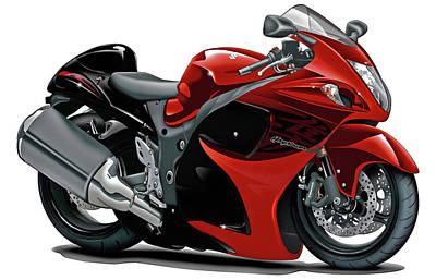 Bike Race Digital Art - Suzuki Hayabusa Red-black Bike by Maddmax