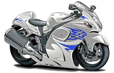 Bike Race Digital Art - Suzuki Hayabusa White-blue Bike by Maddmax