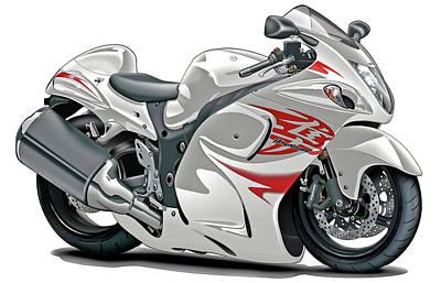 Bike Race Digital Art - Suzuki Hayabusa White-red Bike by Maddmax