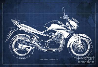 Travelling Art Digital Art - Suzuki Inazuma 250 2012 Blueprint, Christmas Gift For Bikers, Blue Background by Pablo Franchi