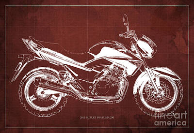 Painting - Suzuki Inazuma 250 2012 Blueprint Gift For Bikers Red Background by Pablo Franchi