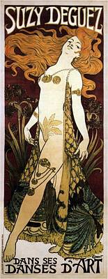 Beers On Tap - Suzy Deguez - Dance of Art - Vintage Art Nouveau Poster by Studio Grafiikka